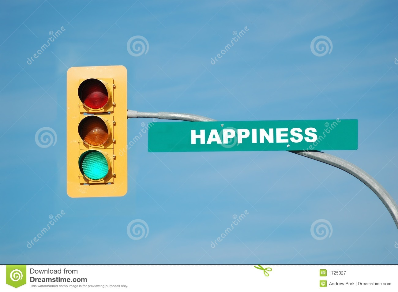 Green traffic light with the word happiness written on the sign.