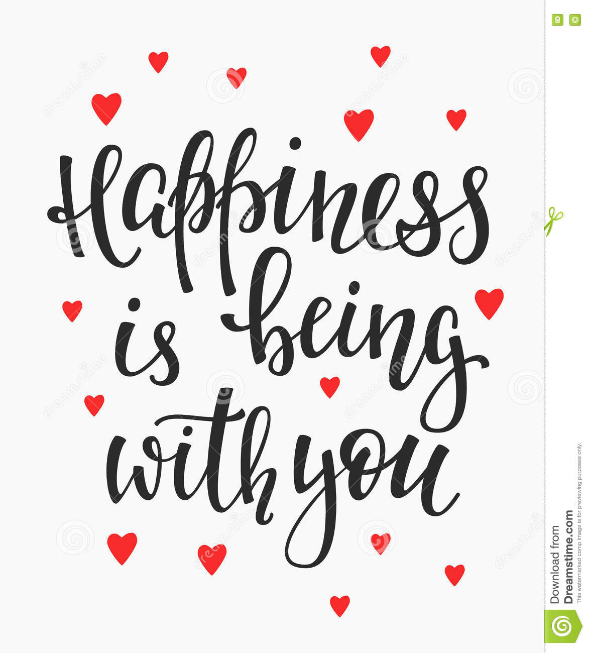 Happiness is being with you quote typography stock