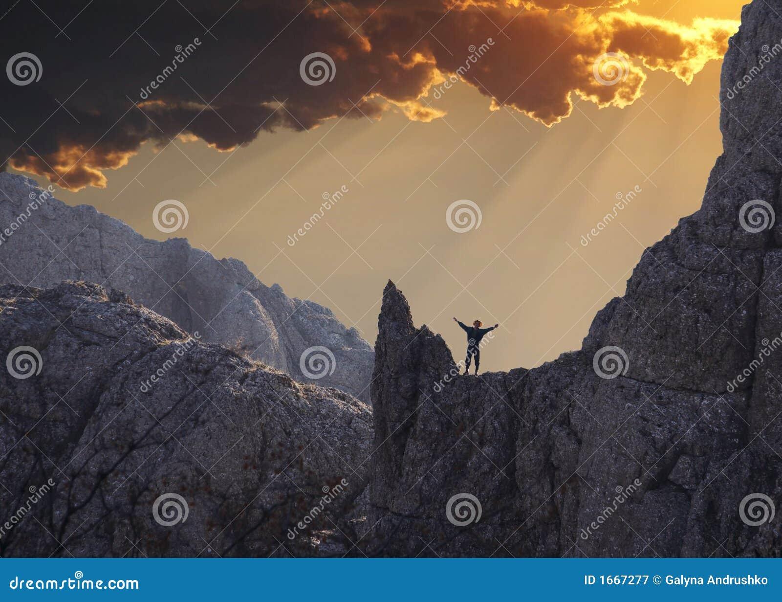 Happiness climber on sunset