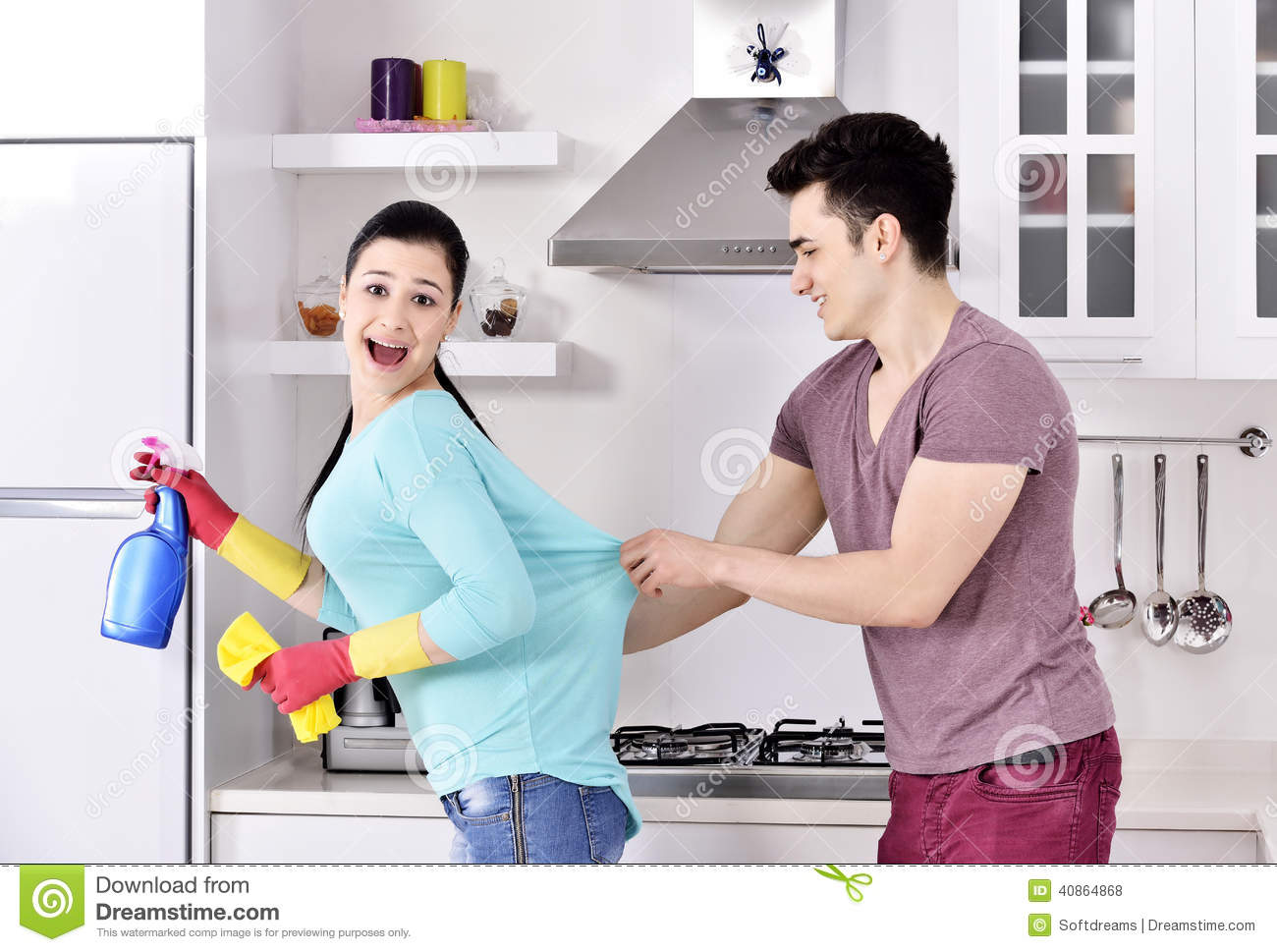 Happiness couple after cleaning the house stock photo for Cleaning out deceased parents home