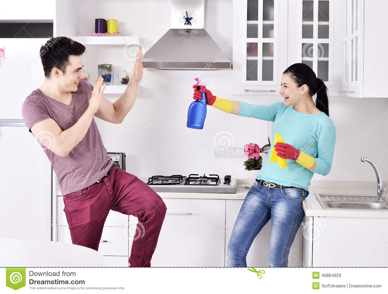 happiness couple after cleaning the house stock photo - image
