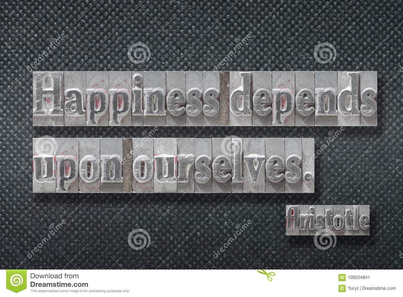 Happiness Depends On Ourselves Aristotle Quote: Happiness Depends Aristotle Stock Image