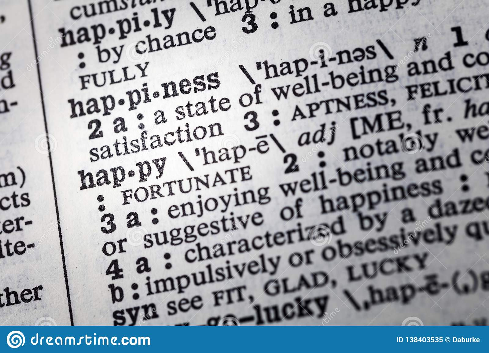 Happy Definition Of Happy At Dictionary Com >> Happiness Happy Well Being Definition Stock Image Image Of