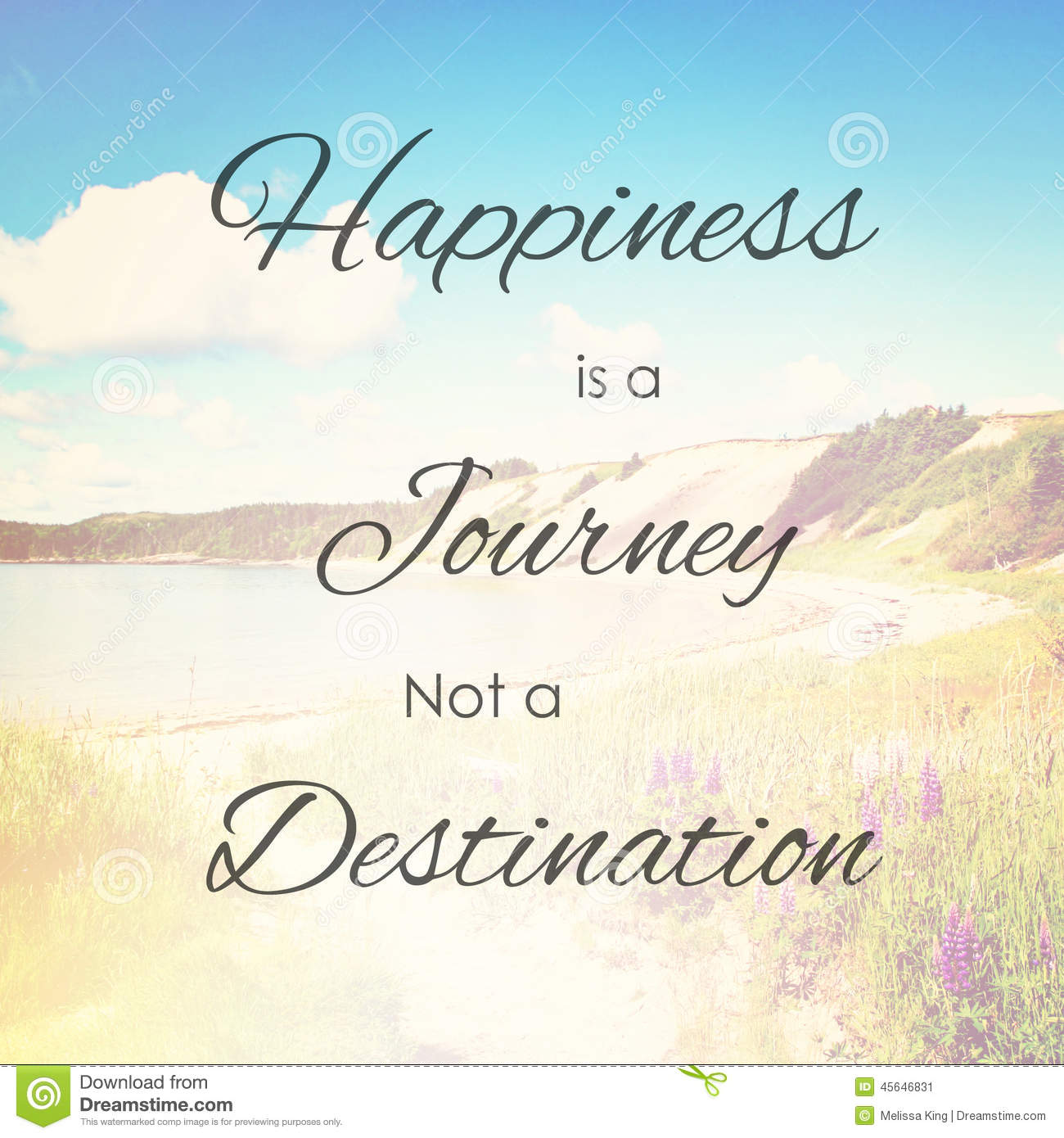 happiness is journey not destination stock photo   image