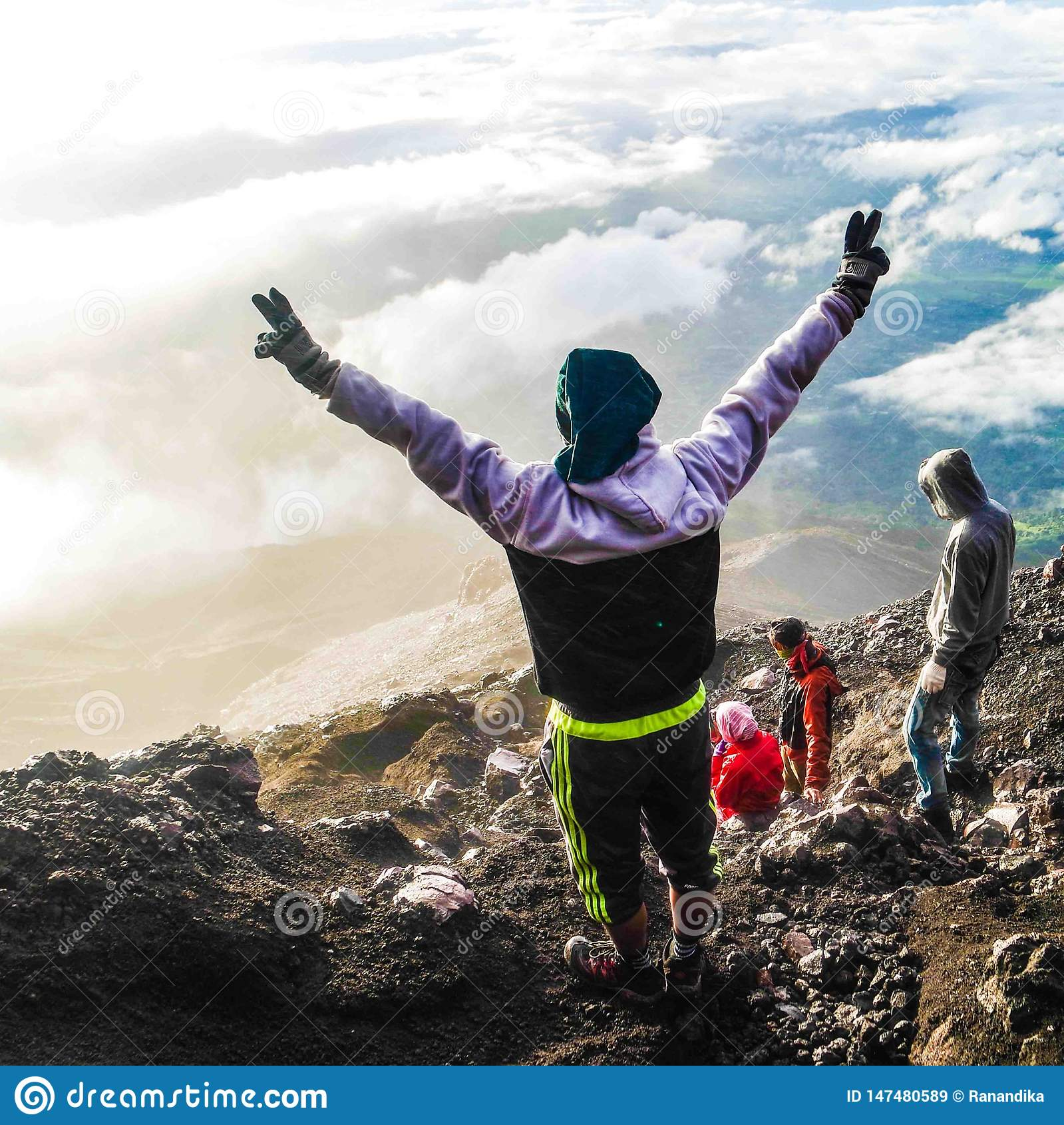 Happiness after reaching top of Kerinci Mountain , Jambi, Indonesia