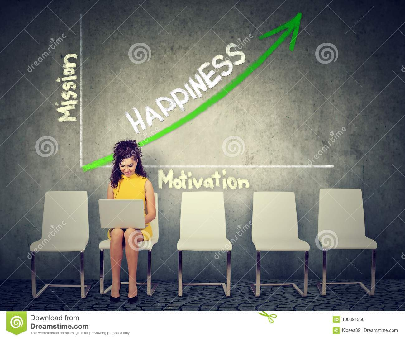 Happiness and self realization concept. Woman using laptop on an opportunity graph growth background