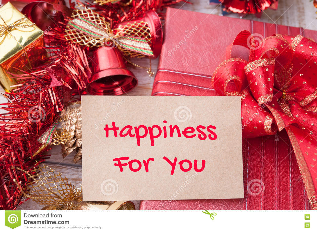 Happiness For You Word On Notebook And Christmas Gift Box With D