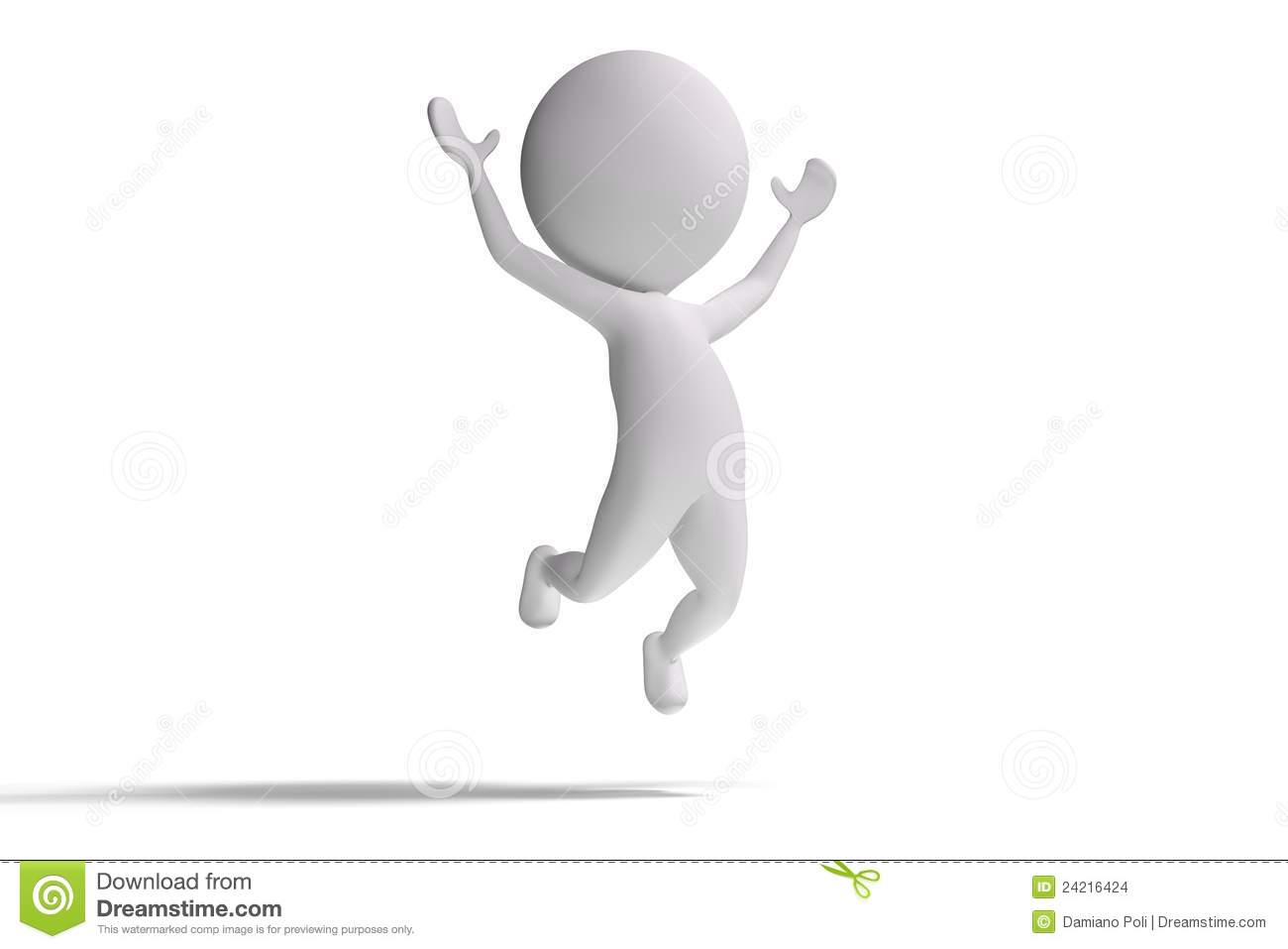 Happy 3d Human Jumps On White Background Stock Images