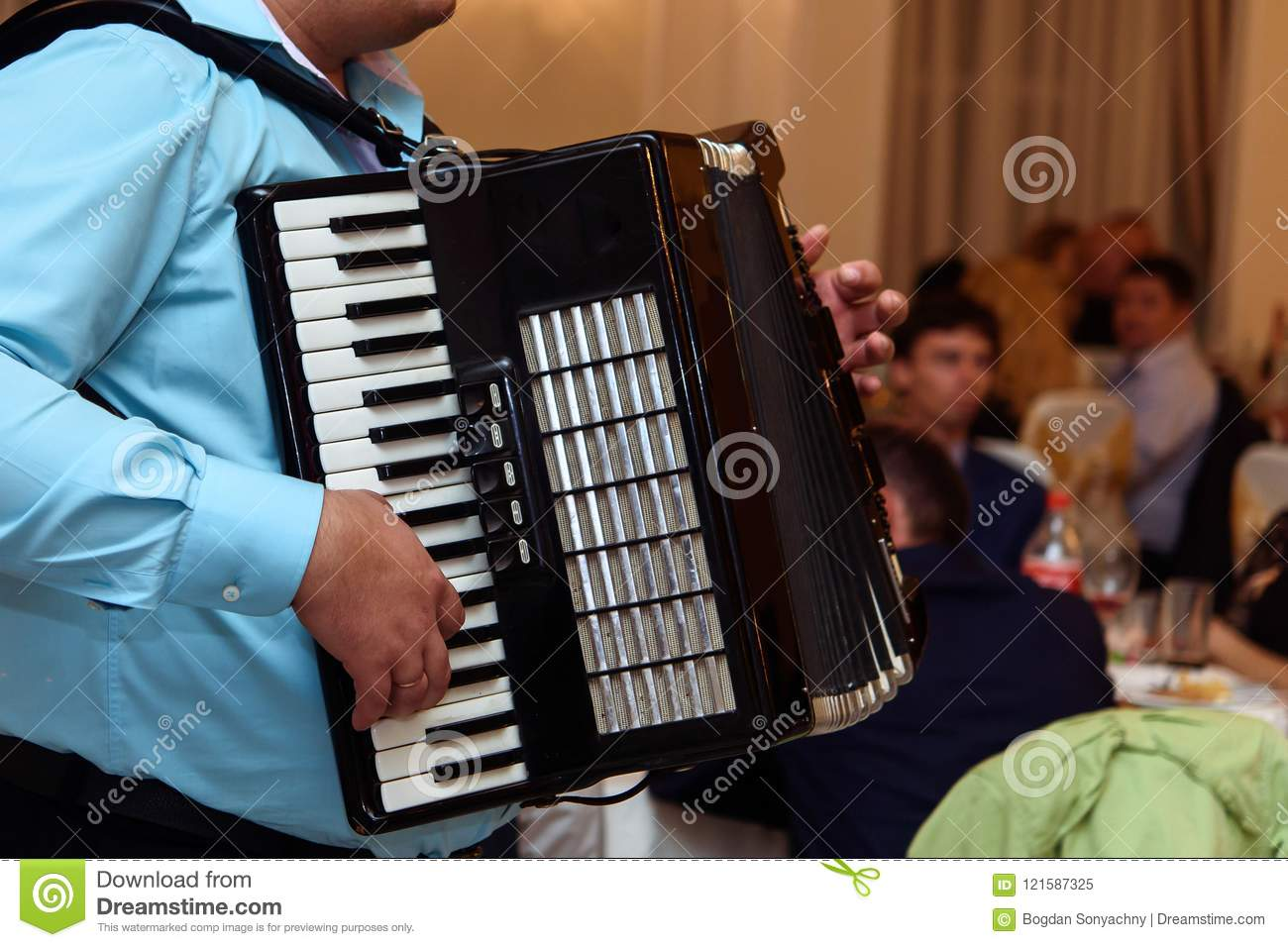 Happy Accordion Musician Playing At Wedding Reception, Hand