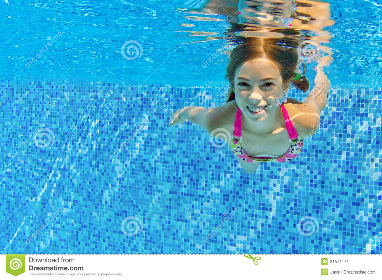Happy Active Child Swims Underwater In Pool Stock Image ...