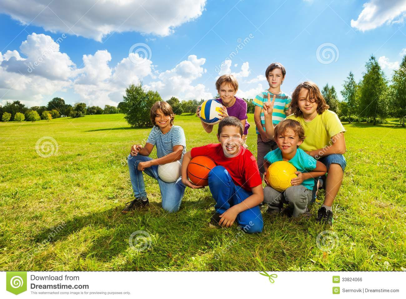 Toys For Active Boys : Happy active kids stock photo image of grass