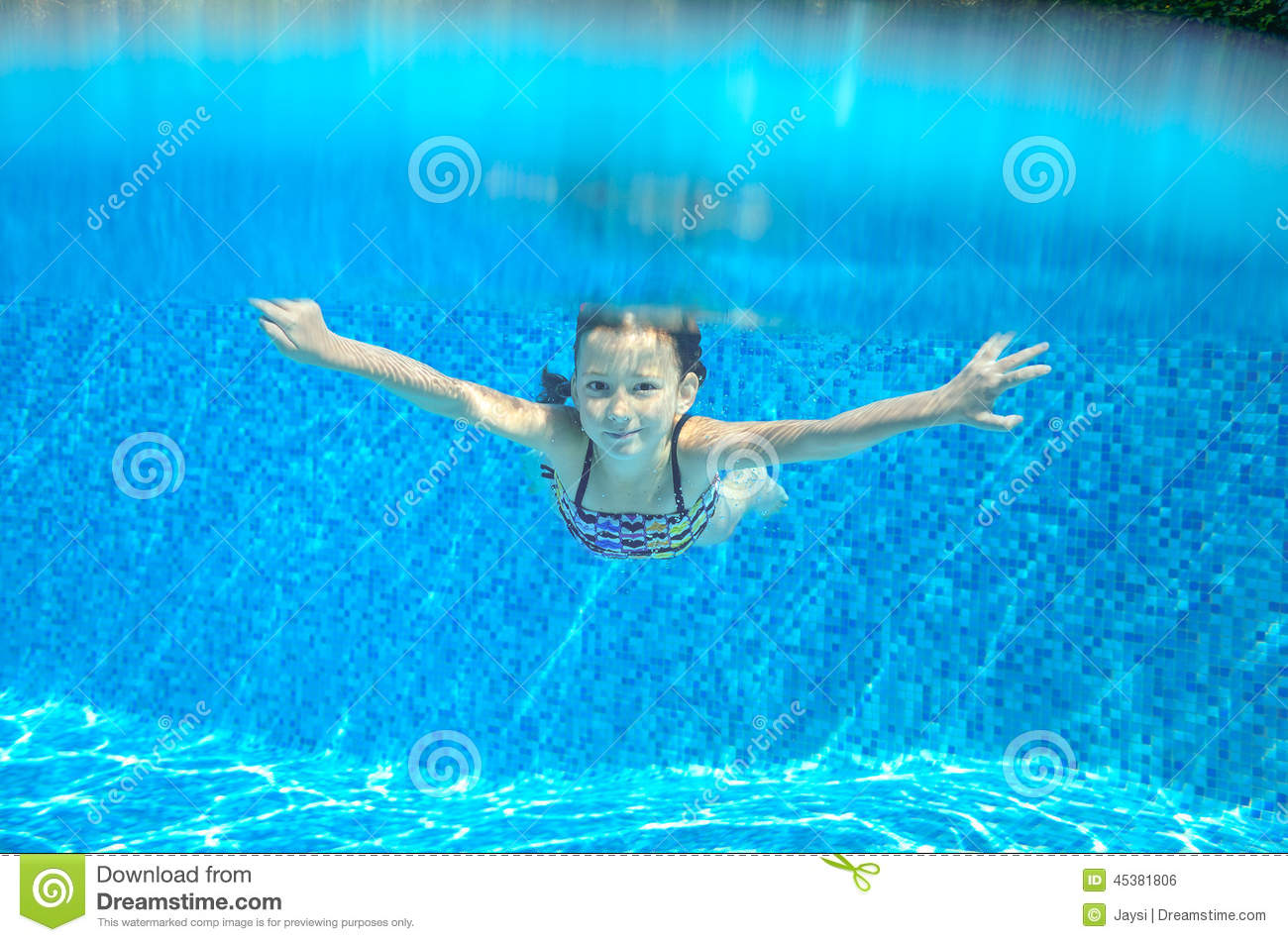 Happy Active Underwater Child Swims In Pool Stock Photo ...