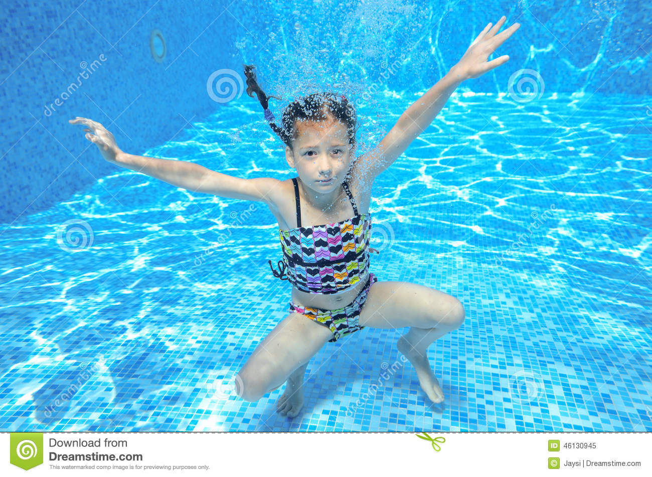 Happy Active Underwater Child Swims In Pool Stock Image ...