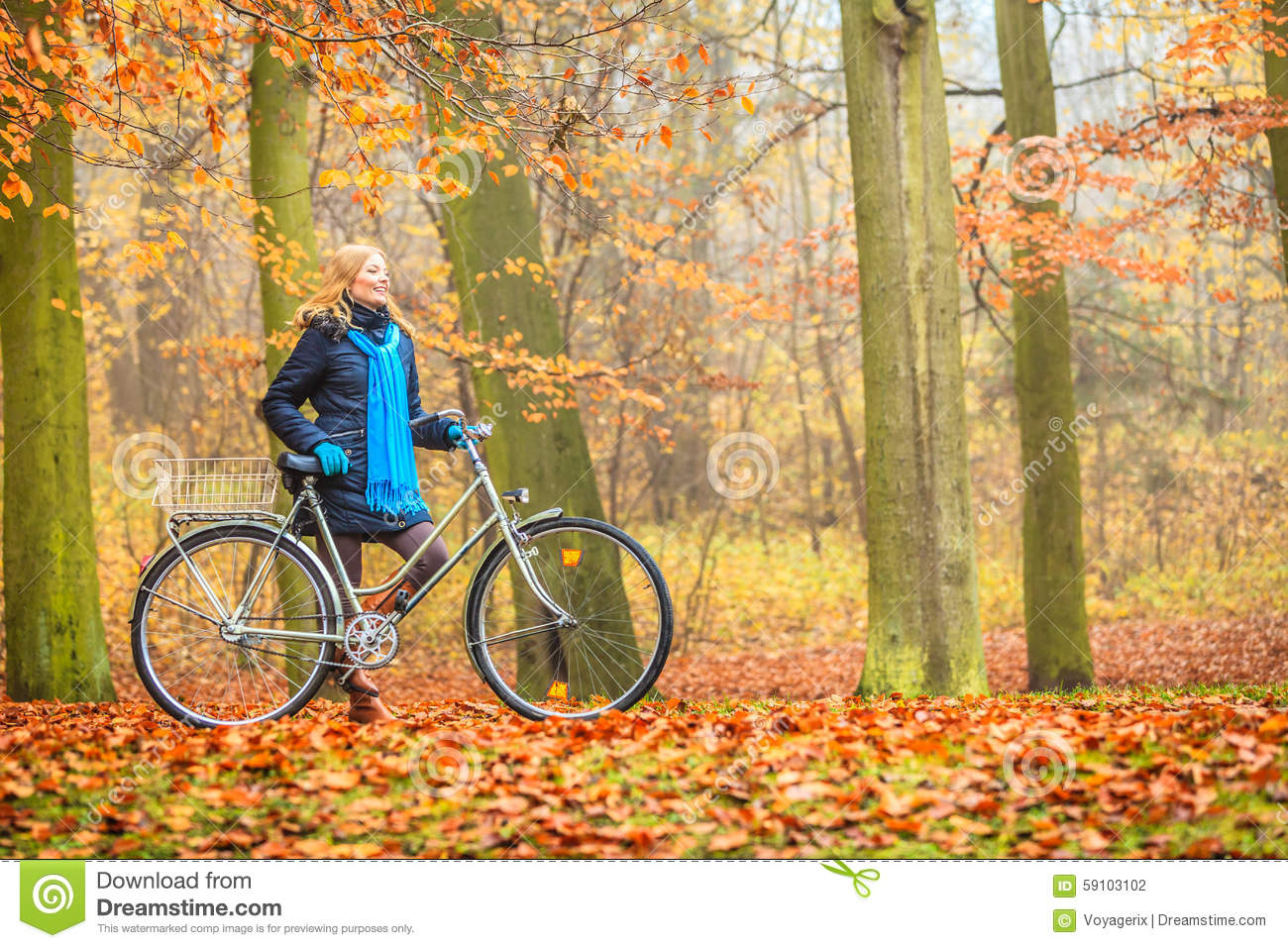 Active Happy Couple Going For A Bike Ride In The