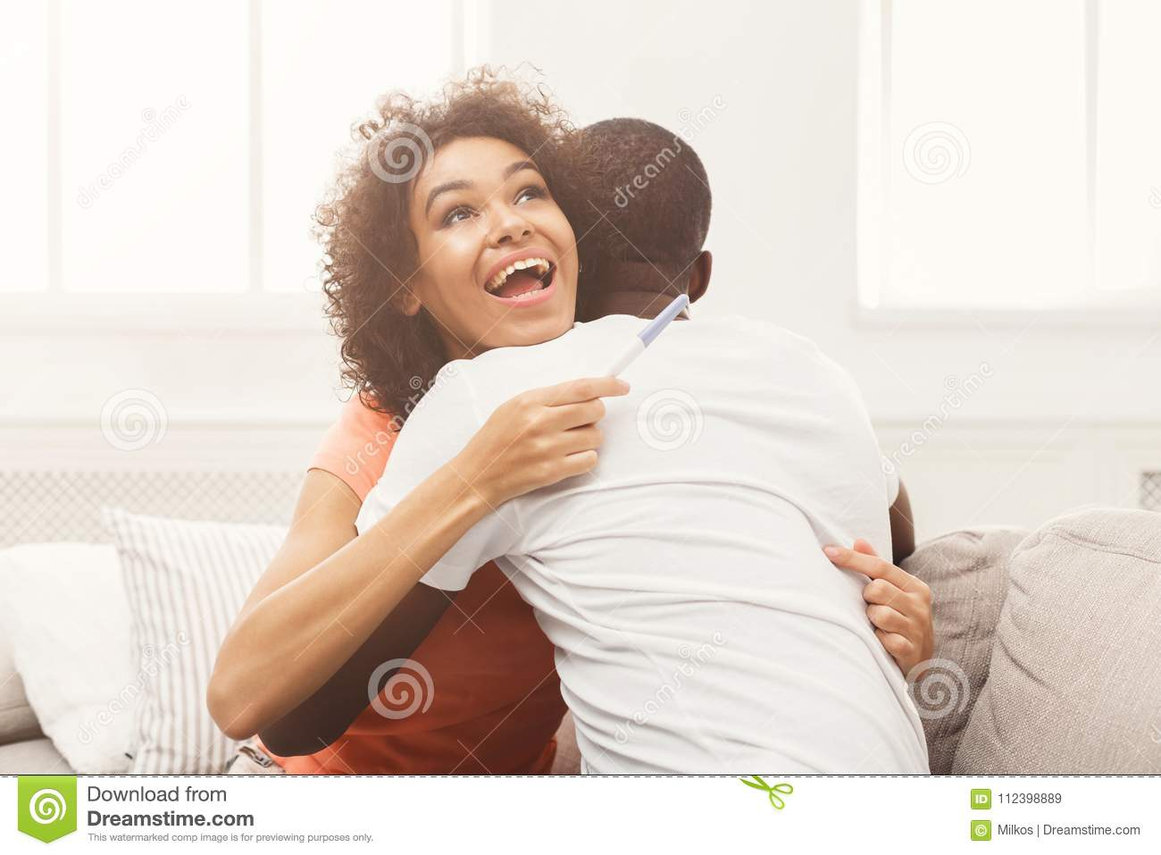 Download Happy African American Couple With Pregnancy Test Stock Image