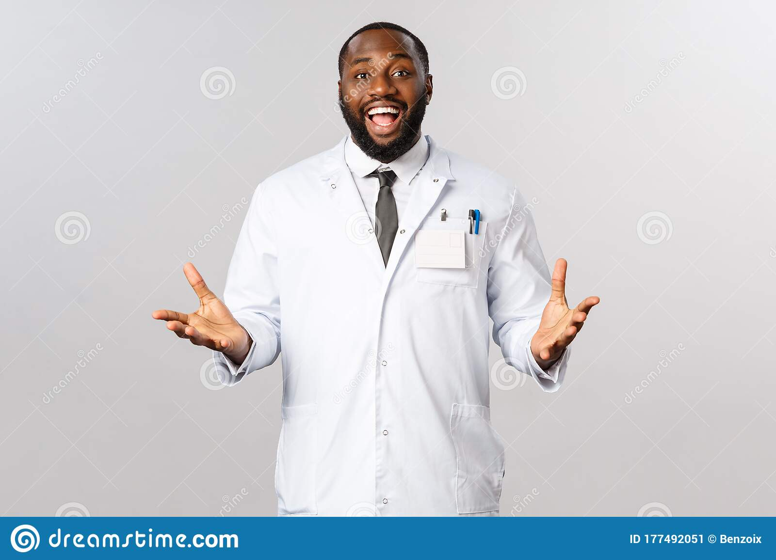 Happy African American Doctor At Clinic Or Hospital Welcoming Patient Telling Good News To Family After Treating Person Stock Image Image Of Outbreak Hospital 177492051