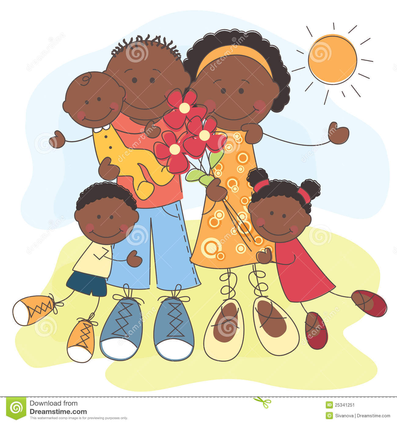 happy african american family stock vector image 25341251 african american christian family clipart african american family friends clipart