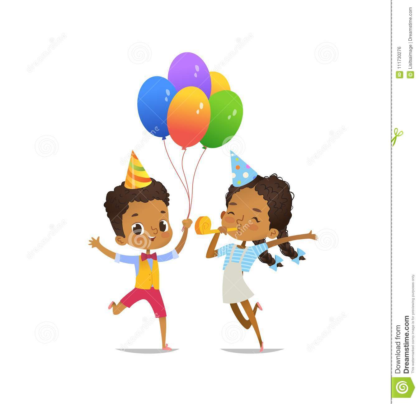 Happy African-American Kids With The Balloons And Birthday