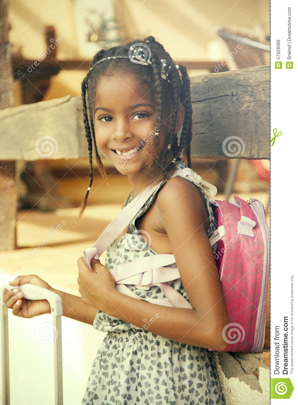 Happy African American Little Girl With Backpack Stock