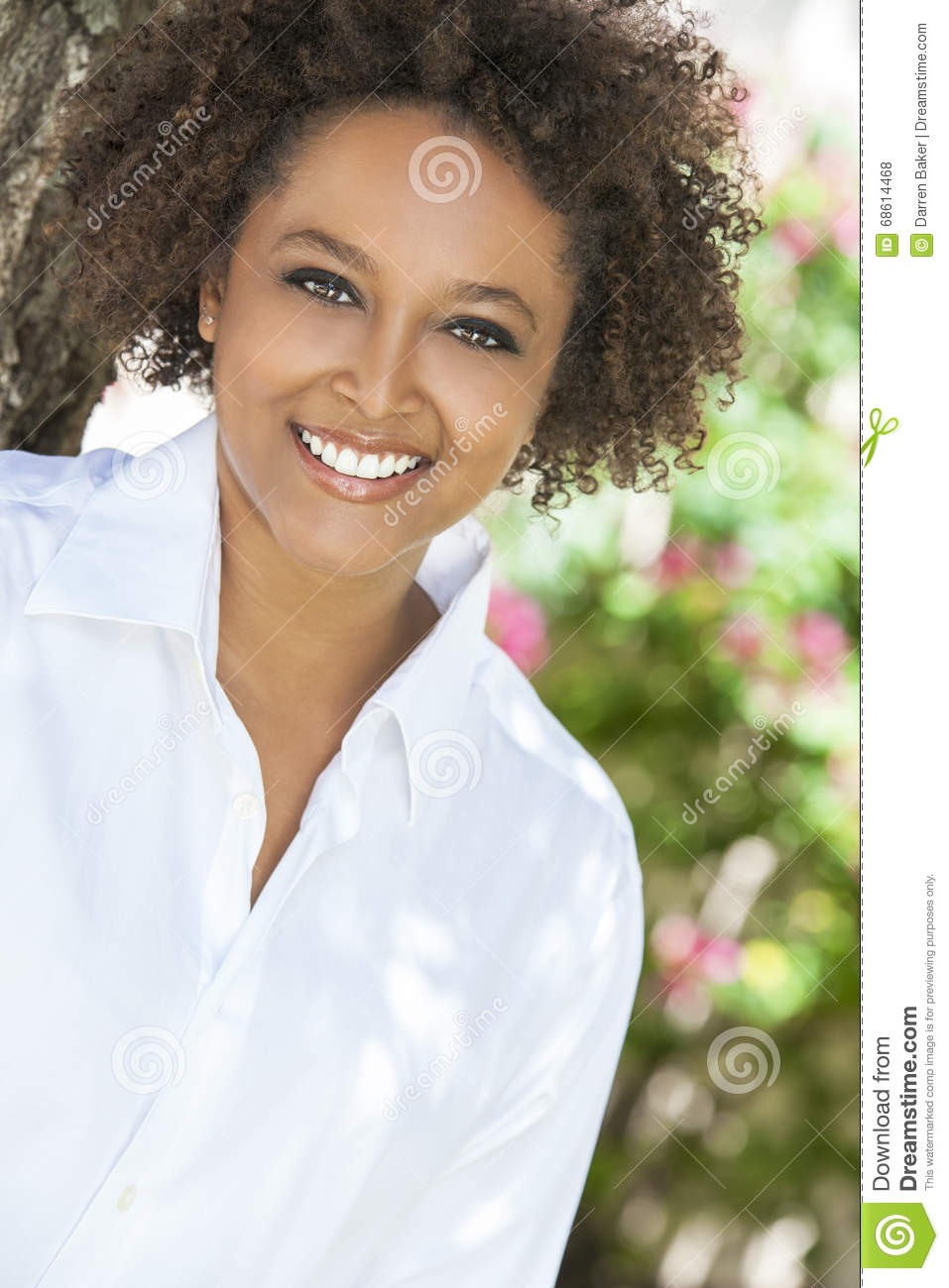 Picture Perfect American Cottage How To Decorate Interiors: Happy African American Woman Smiling Outside Stock Photo