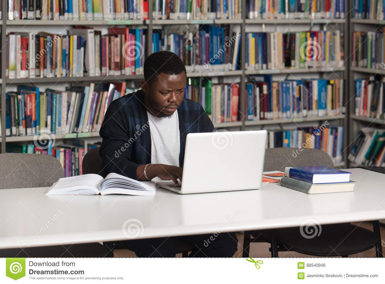 Perfect Happy African Male Student With Laptop In Library Stock Photo   Image Of  Classroom, Homework: 88540946