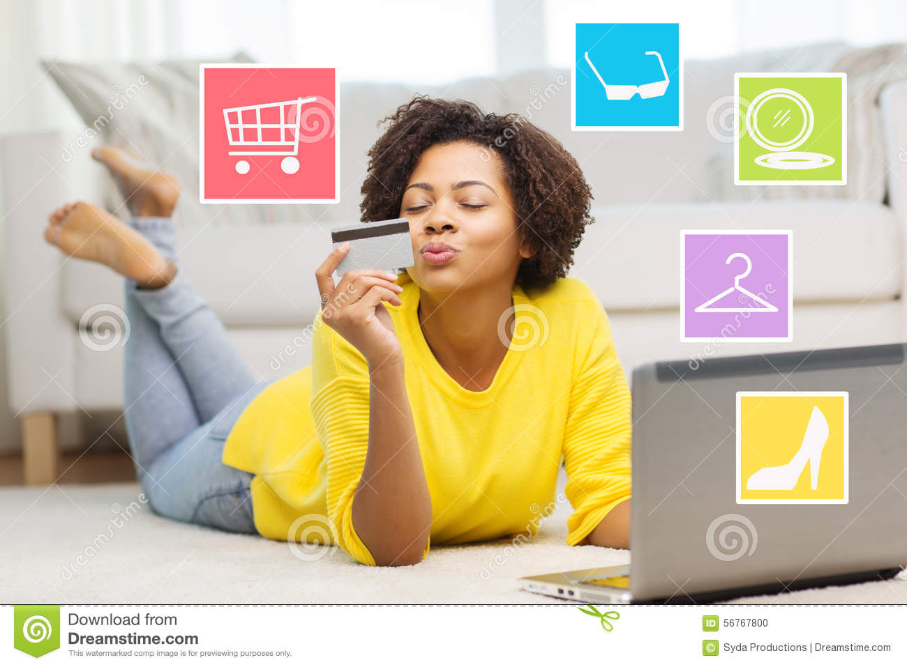 happy african woman with laptop and credit card stock illustration illustration of lifestyle. Black Bedroom Furniture Sets. Home Design Ideas