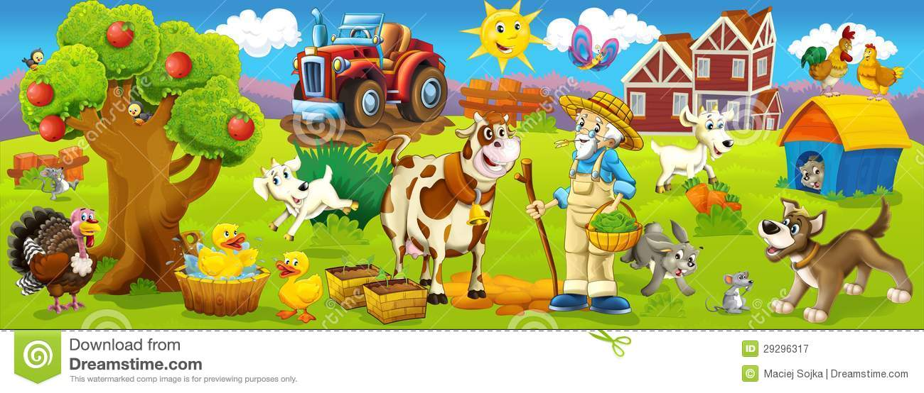 Happy Animals Farm Illustration