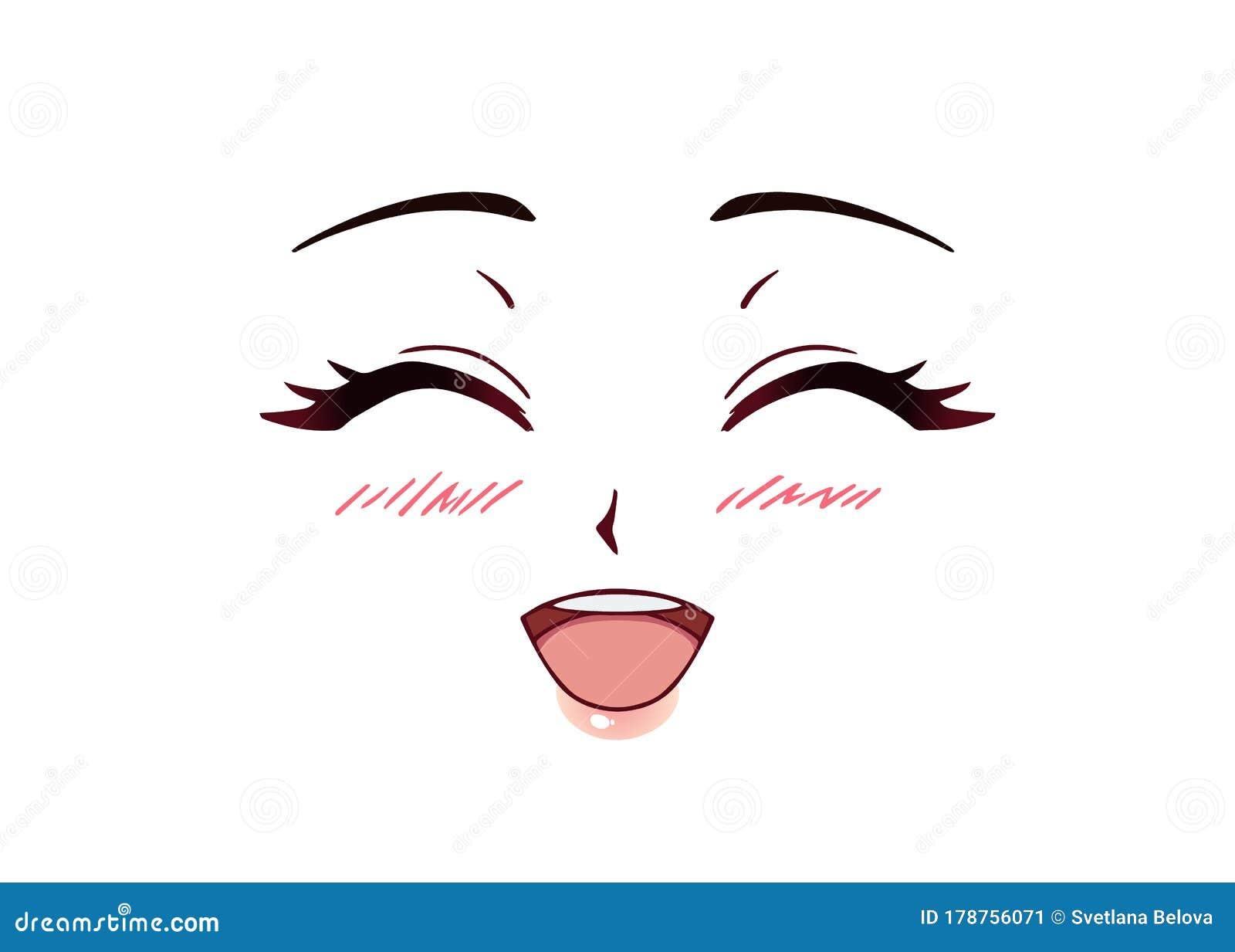 Happy Anime Face. Manga Style Closed Eyes Stock Vector