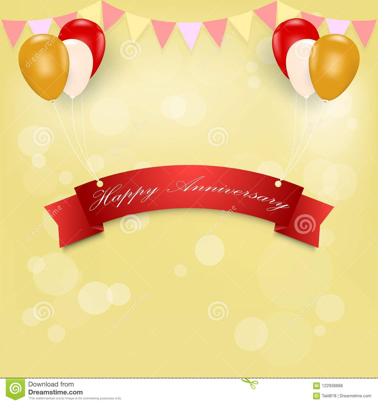 Happy Anniversary With Balloons Greeting Card Stock Vector