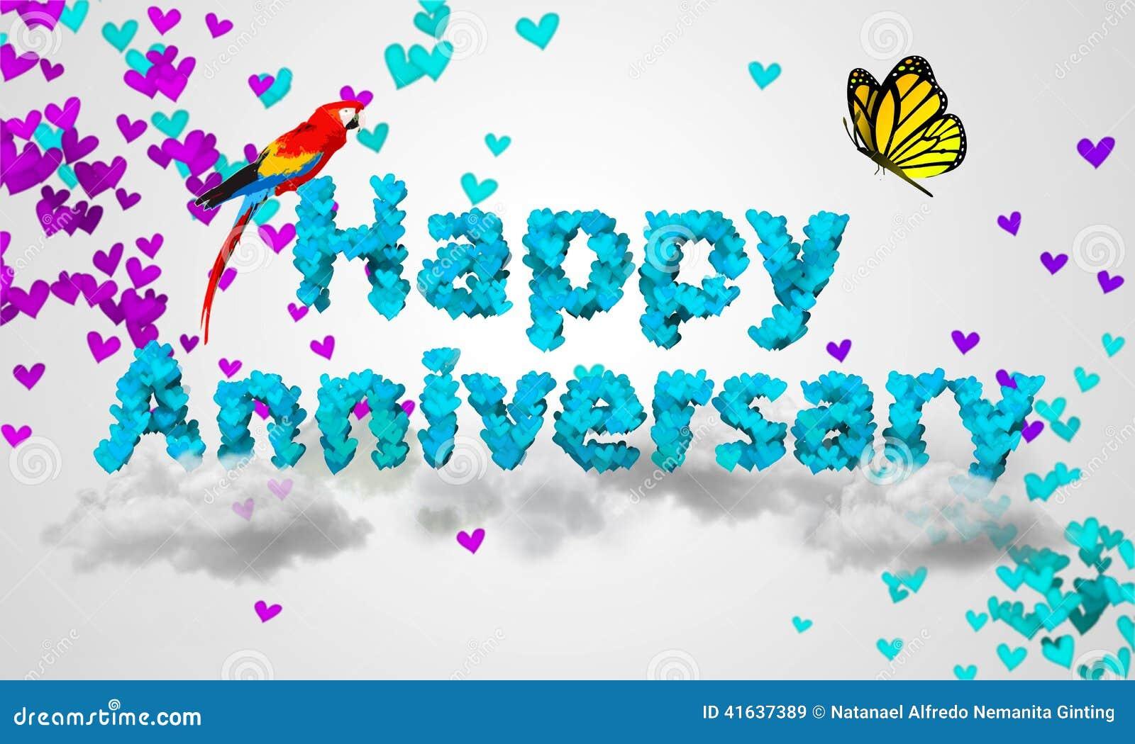 Happy Anniversary Blue Heart Shape 3D Stock Illustration