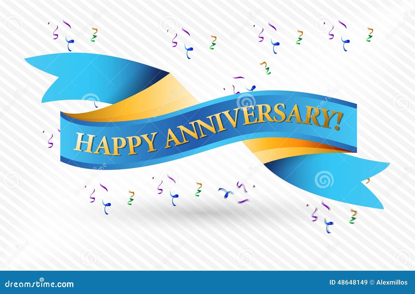 Happy Anniversary Blue Ribbon Illustration Stock Illustration - Image ...