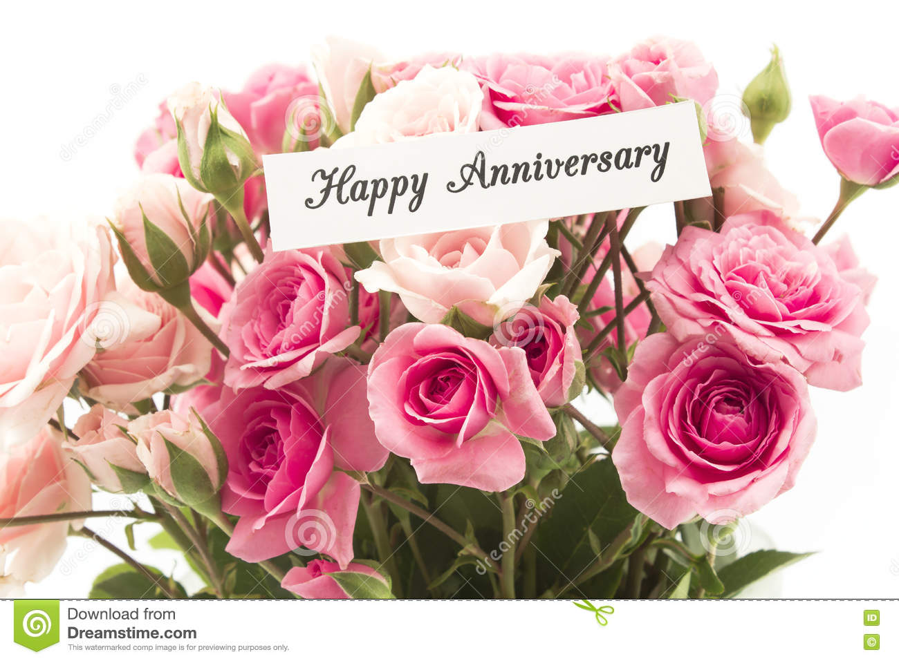 Happy anniversary card with bouquet of pink roses stock for Bouquet de fleurs 70 ans