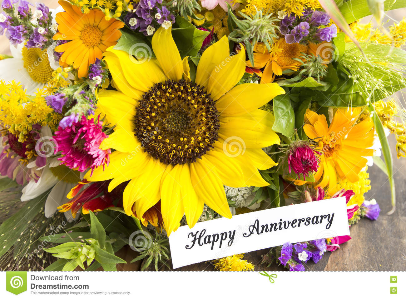 Happy anniversary card with bouquet of summer flowers stock image happy anniversary card with bouquet of summer flowers izmirmasajfo
