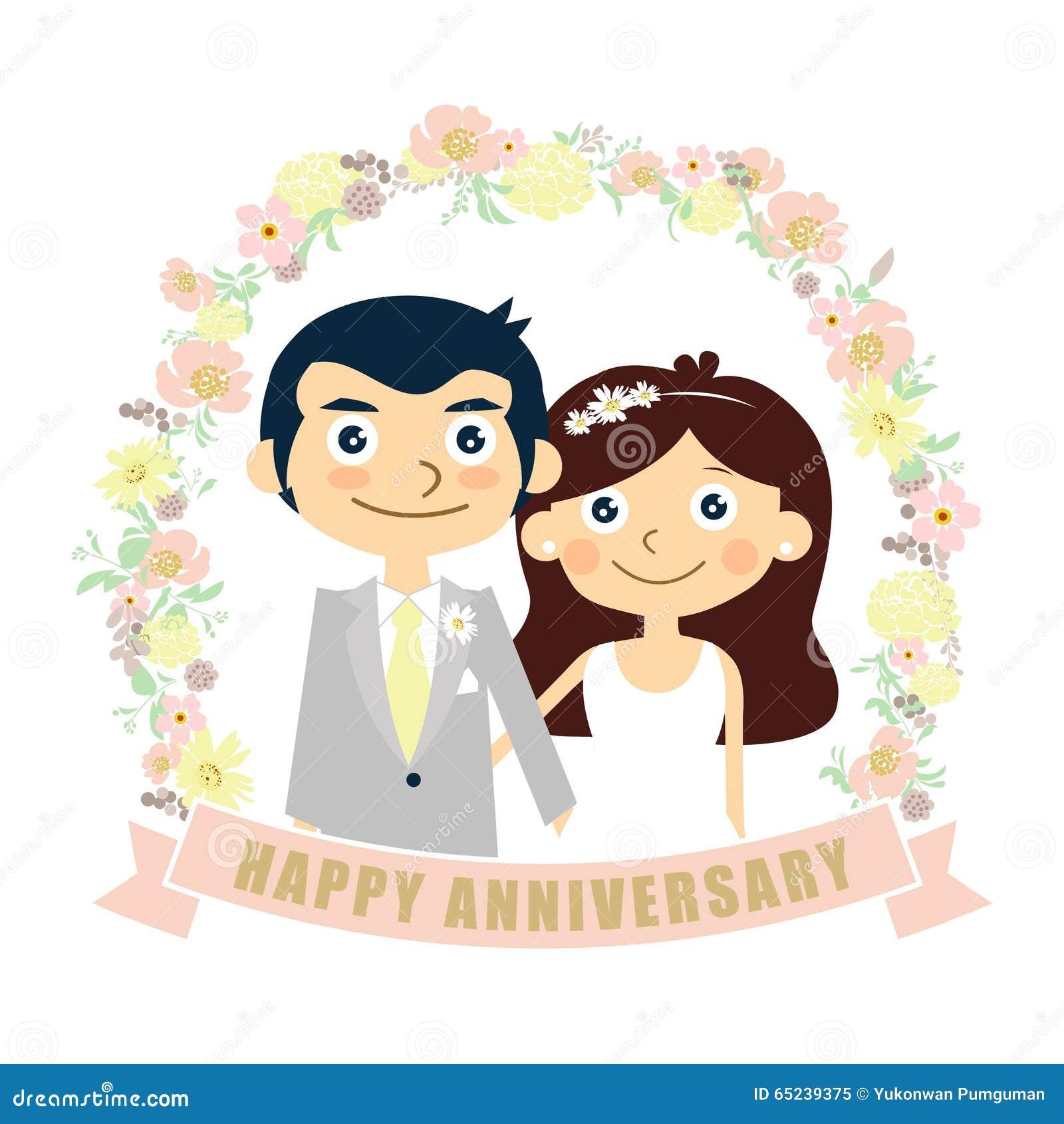 happy anniversary card couple wedding vector stock
