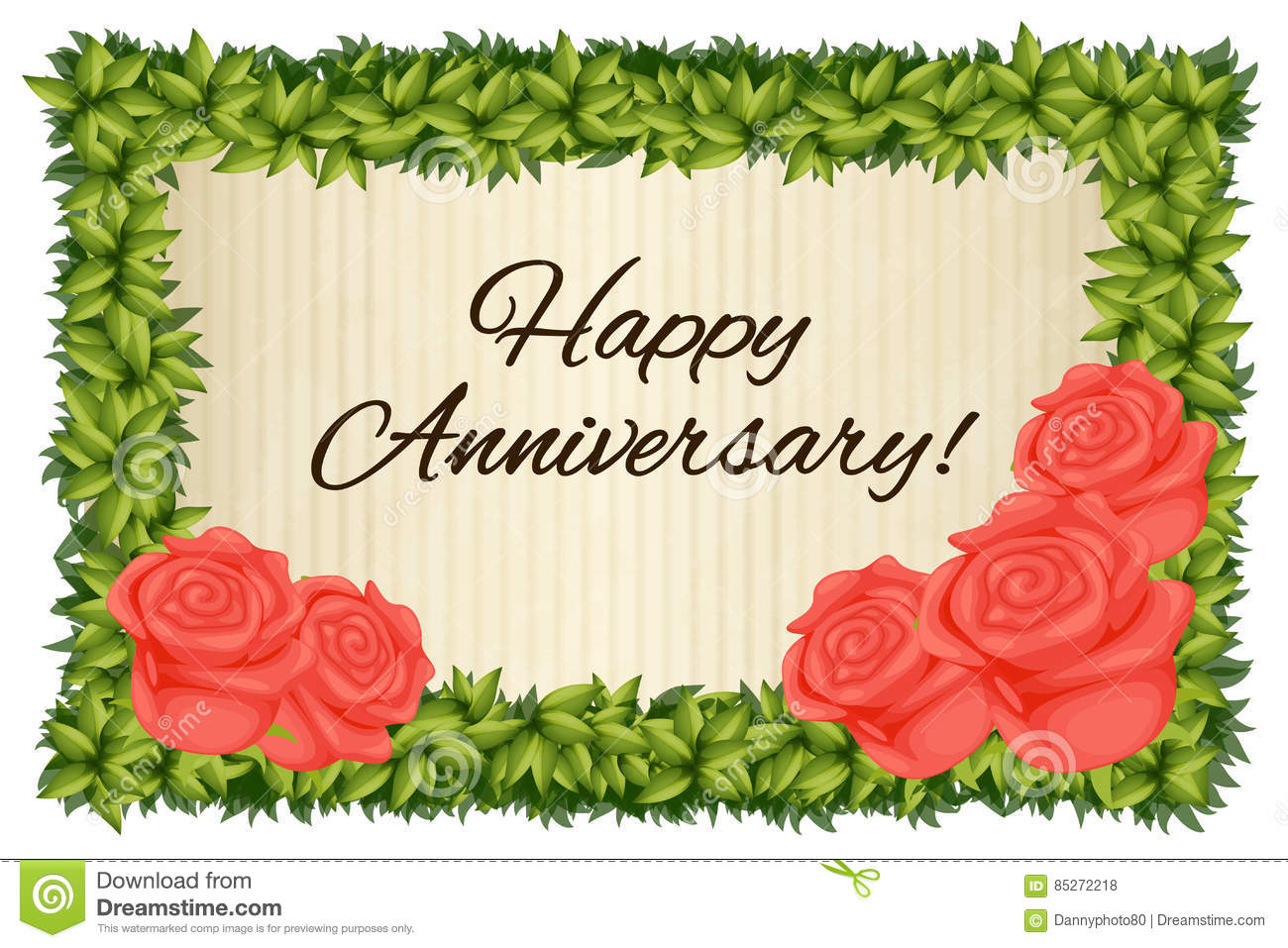 Happy Anniversary Card Template With Red Roses Stock Illustration