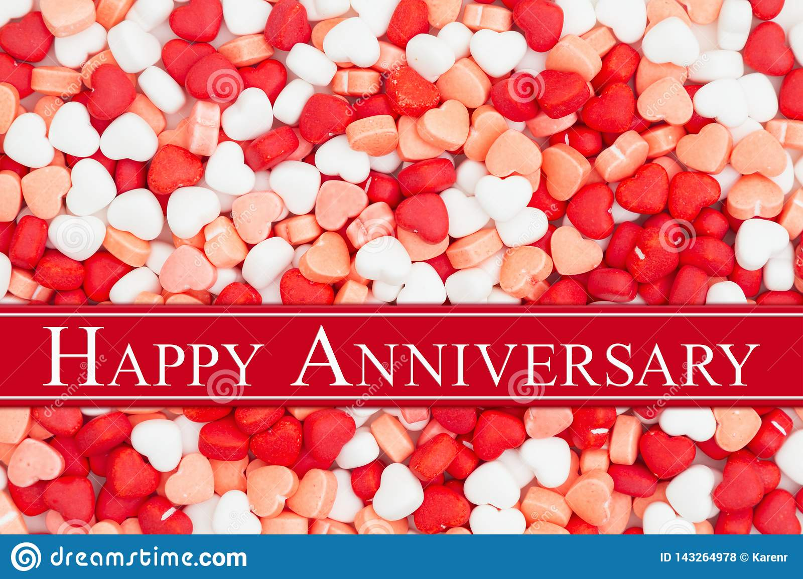 Happy Anniversary greeting on a candy hearts
