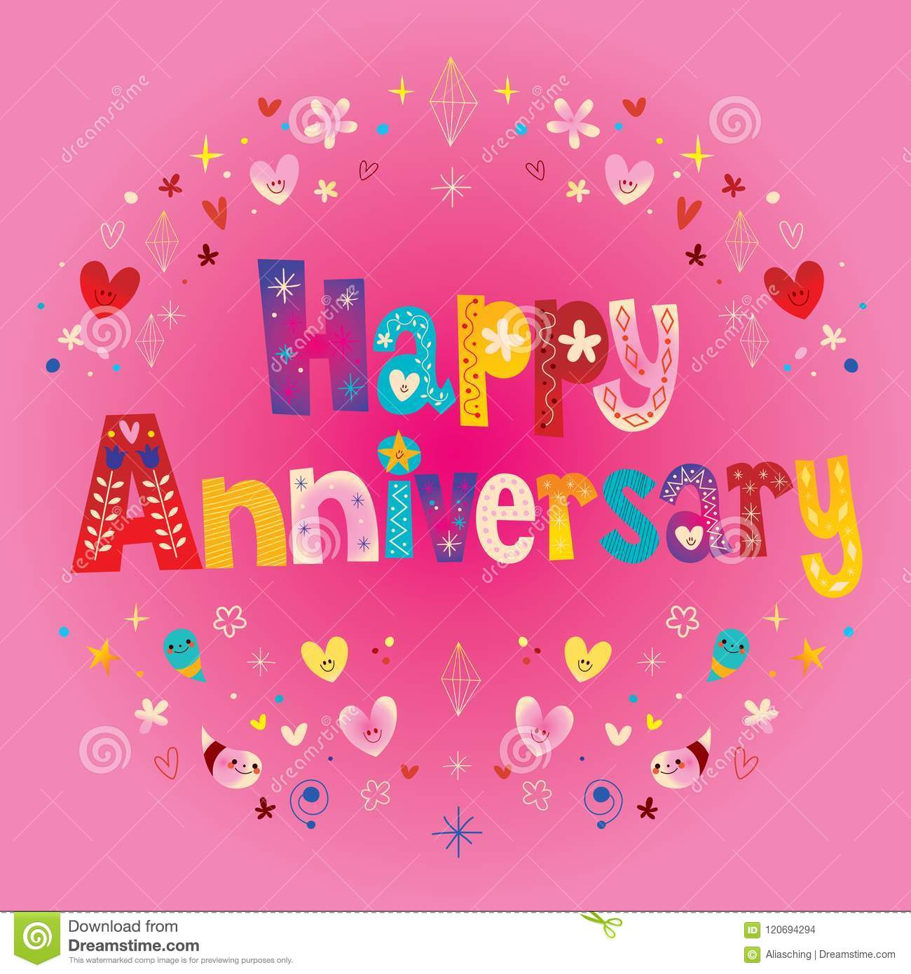 Happy Anniversary Greeting Card Stock Vector Illustration Of