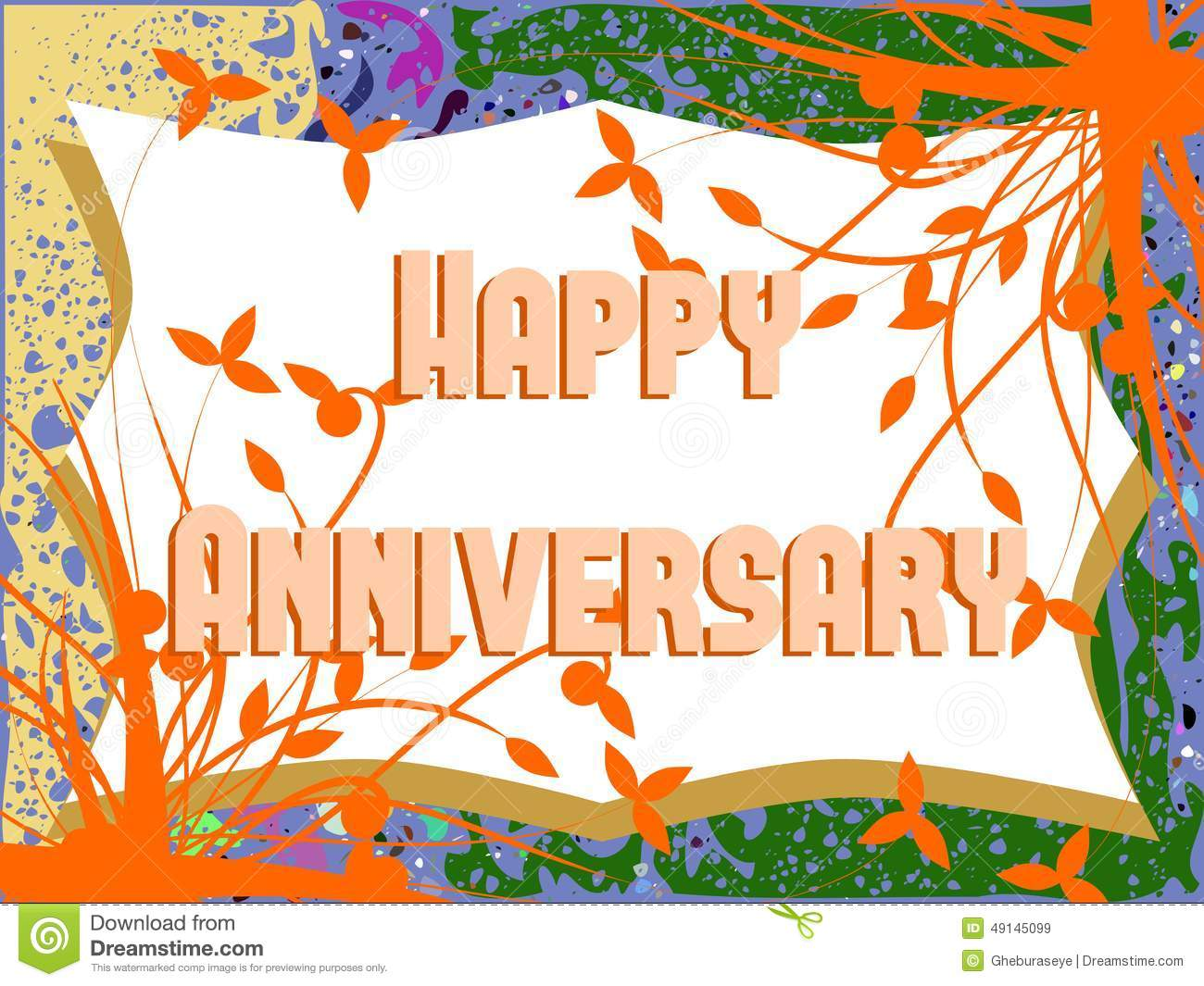 Happy Anniversary Greeting Card With Leaves Stock Illustration