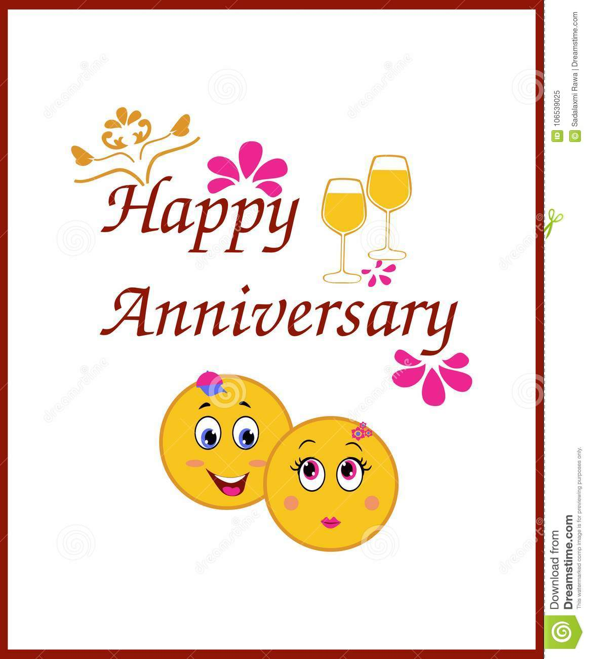 Happy Anniversary Greeting Card With Smiley Themes Stock