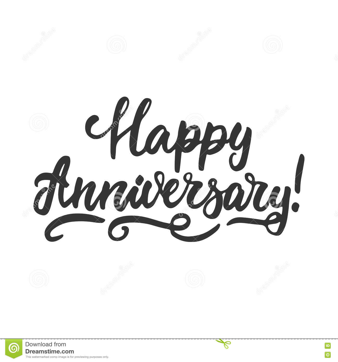 Happy Anniversary Hand Drawn Lettering Phrase Isolated