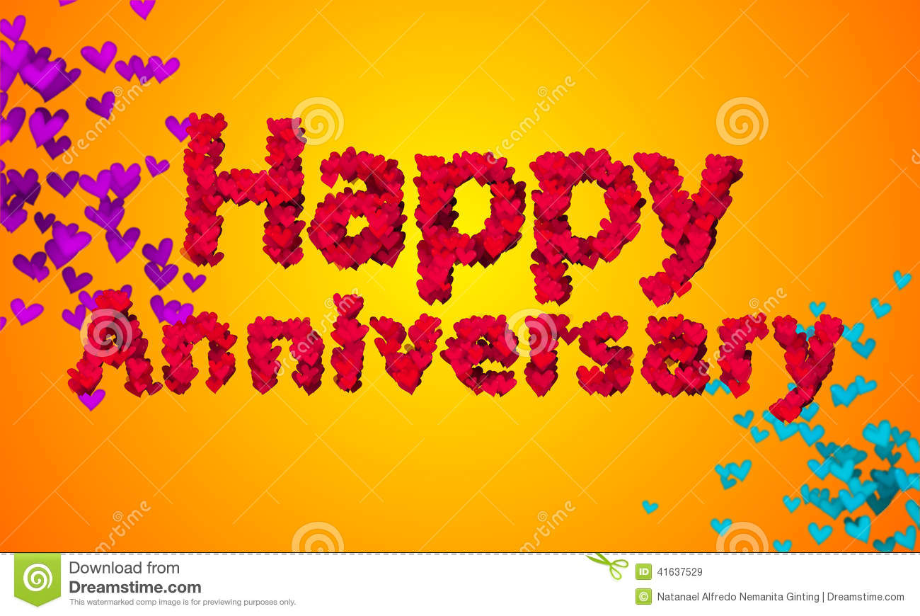 Happy Anniversary Heart Shape 3D Orange Background Stock