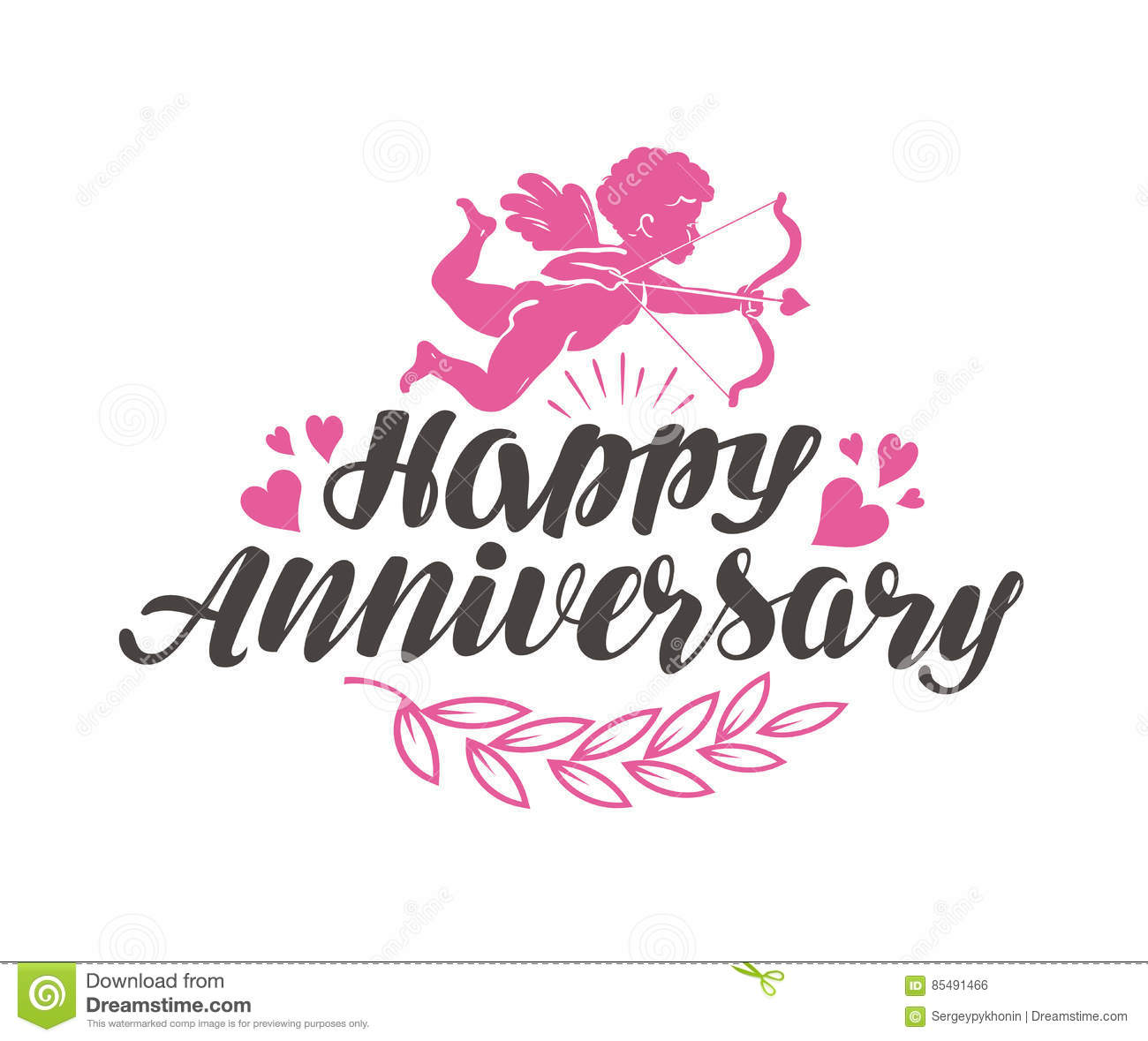 Happy Anniversary Label With Beautiful Lettering