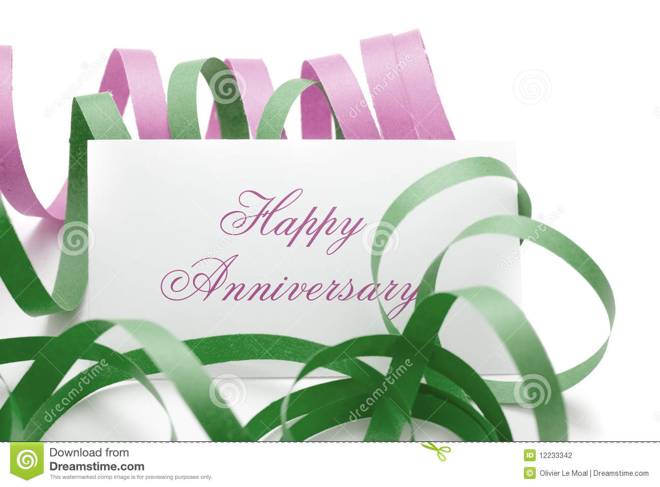Happy anniversary message on a card