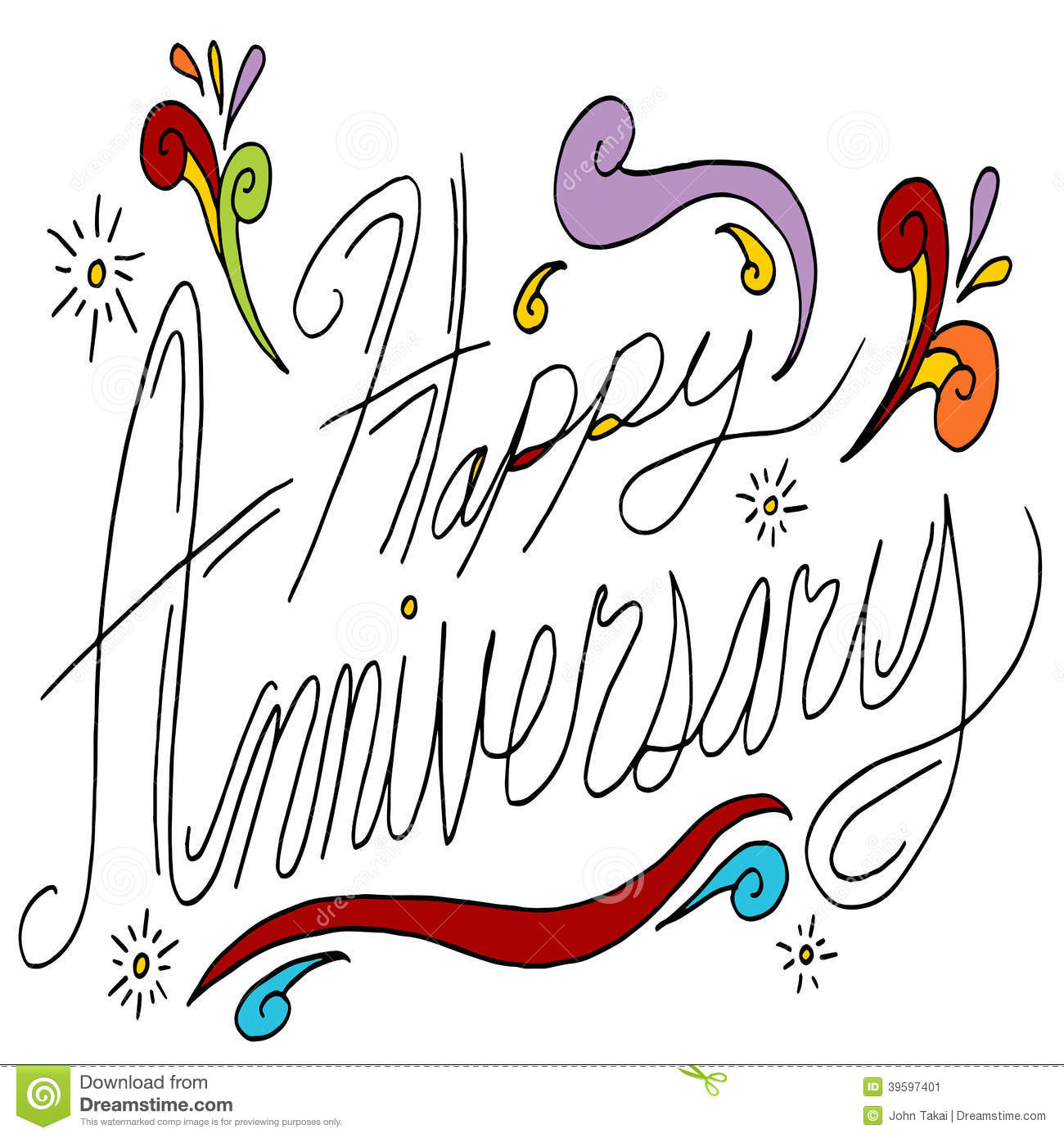 Happy Anniversary Message Stock Vector Illustration Of Happy 39597401