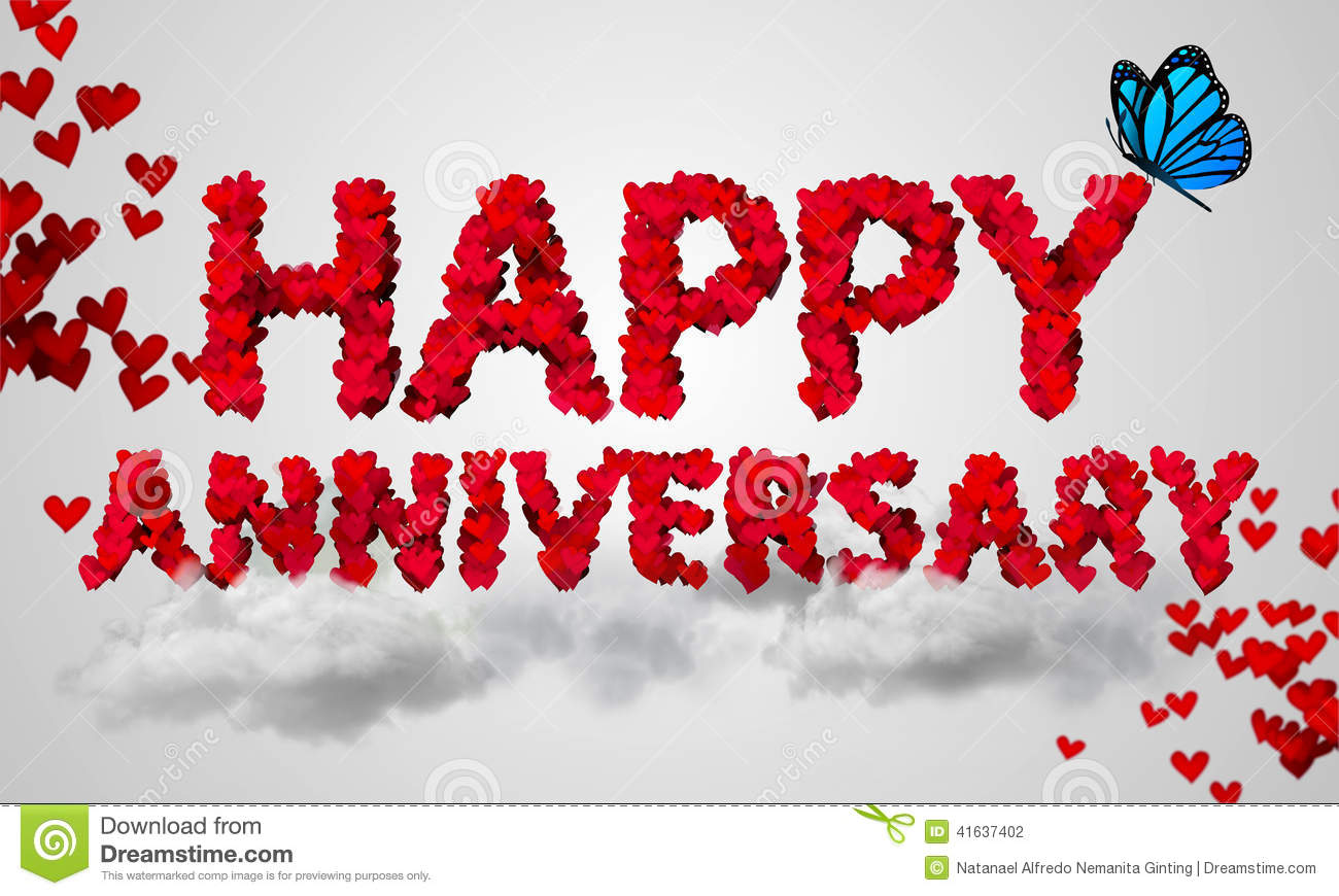 Happy Anniversary Red Heart Shape 3d Stock Illustration