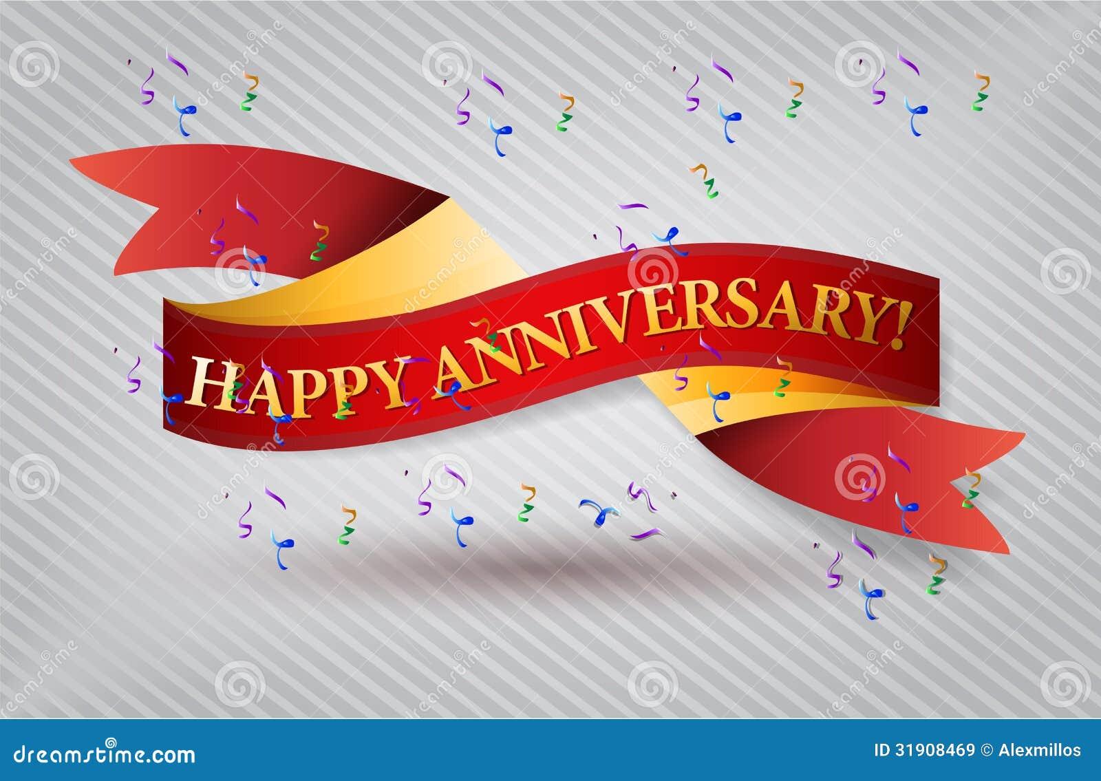 Happy anniversary red waving ribbon banner royalty free