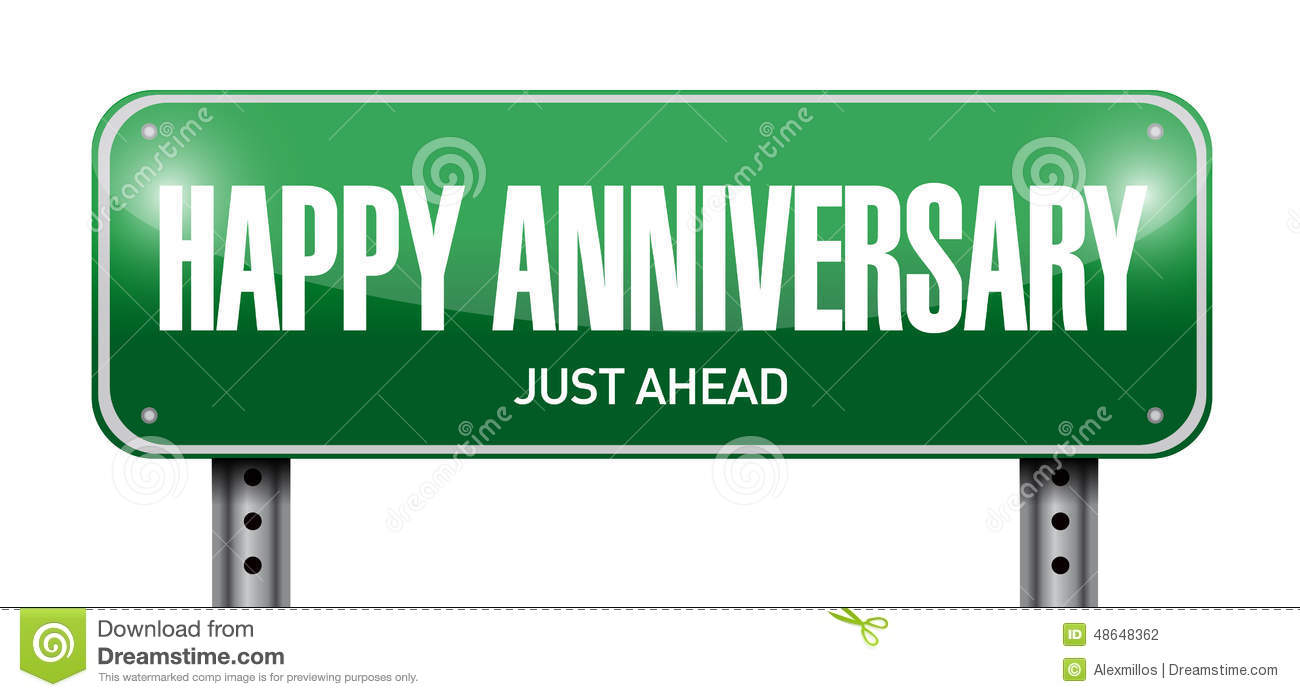 Happy Anniversary Road Sign Illustration Design Stock Illustration ...