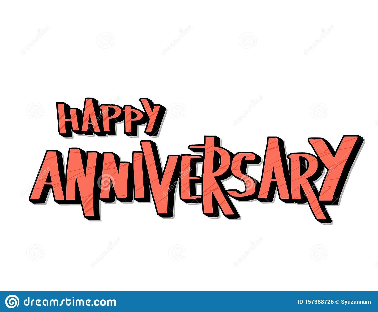 Happy Anniversary Text. Vector Word With Decor Stock Vector Regarding Anniversary Card Template Word