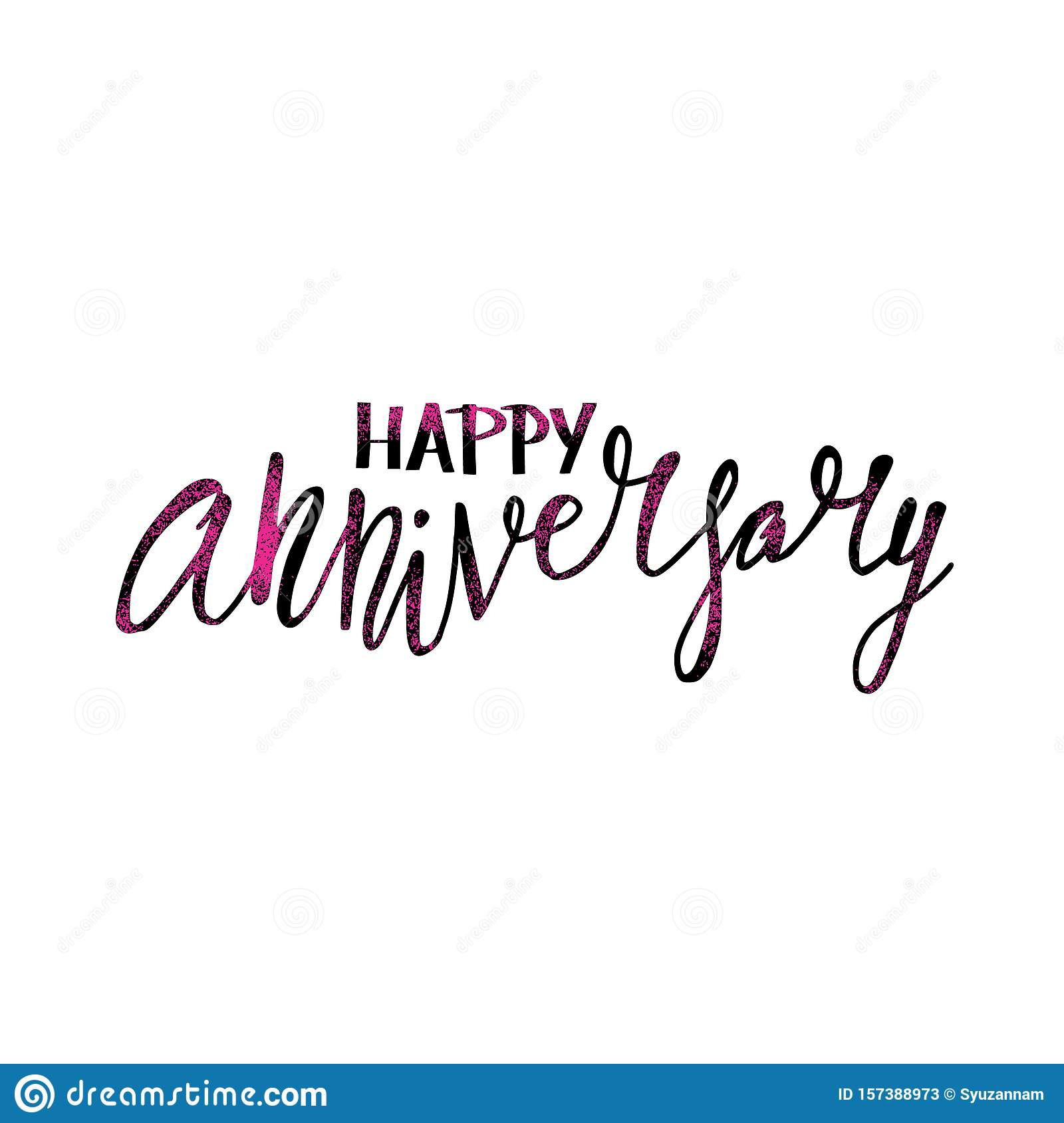 Happy Anniversary Text. Vector Word With Decor Stock Vector With Regard To Anniversary Card Template Word