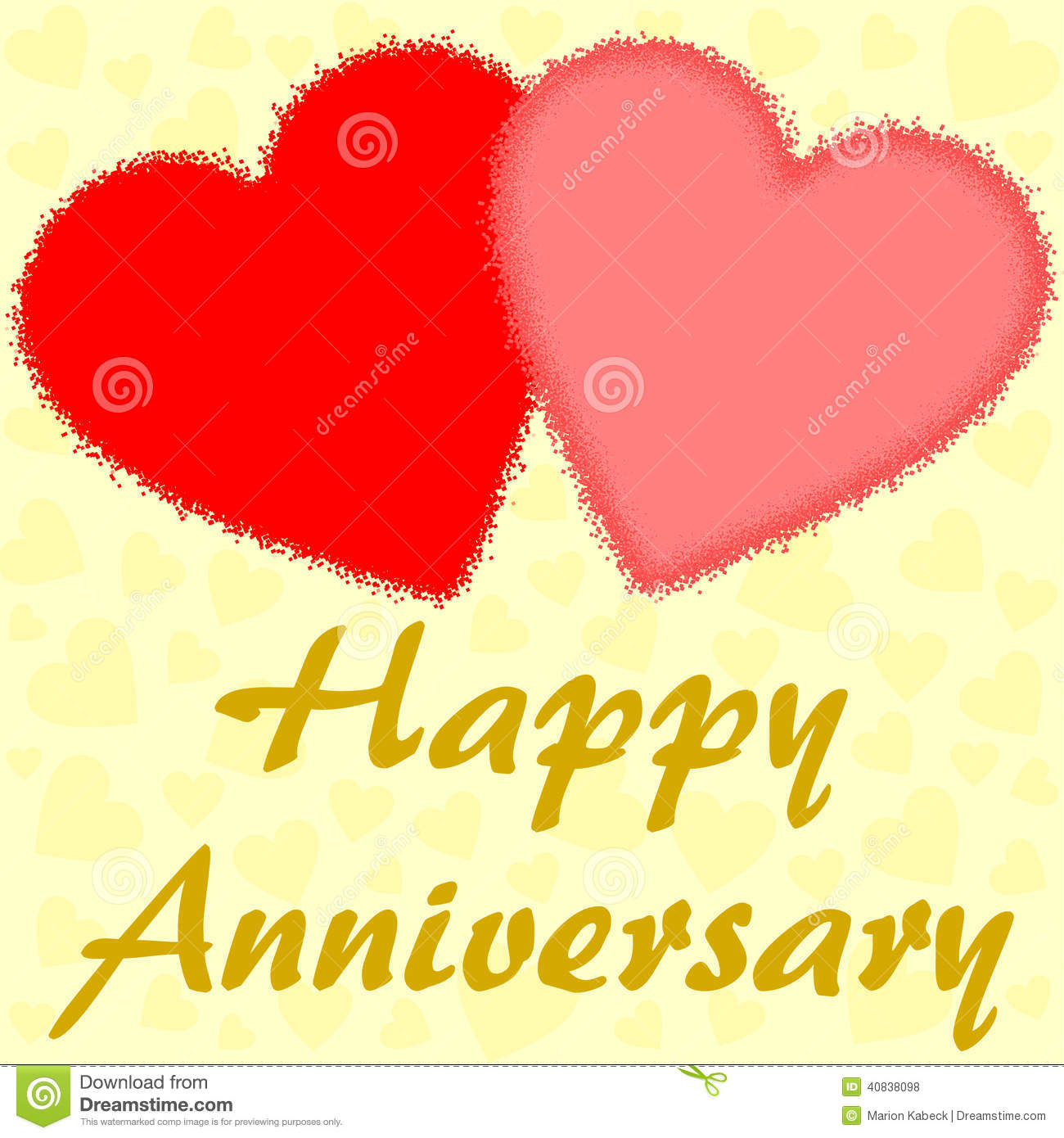 happy anniversary with two big red hearts stock illustration